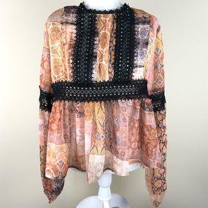 I. MADELINE Sheer Lace Boho Peasant Top Large NWT
